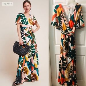 Anthropology Floral Wrap Maxi Dress